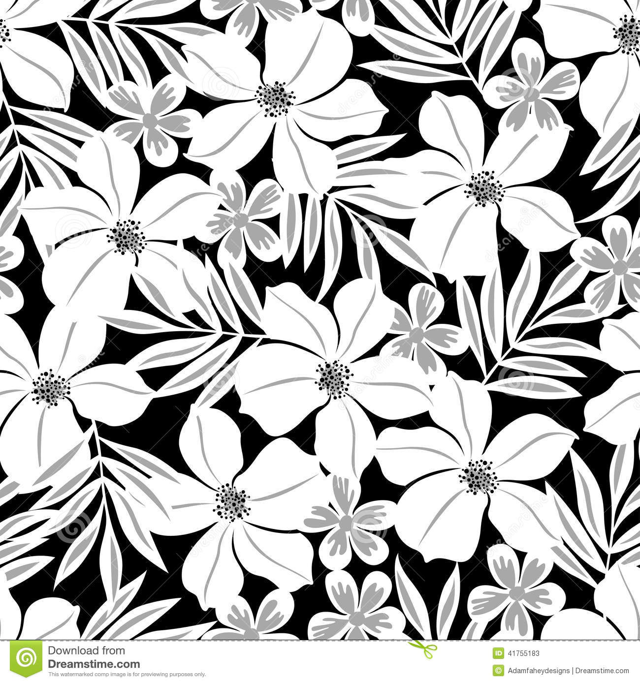 White tropical flower on a black background seamless pattern white tropical flower on a black background seamless pattern illustration 41755183 megapixl mightylinksfo