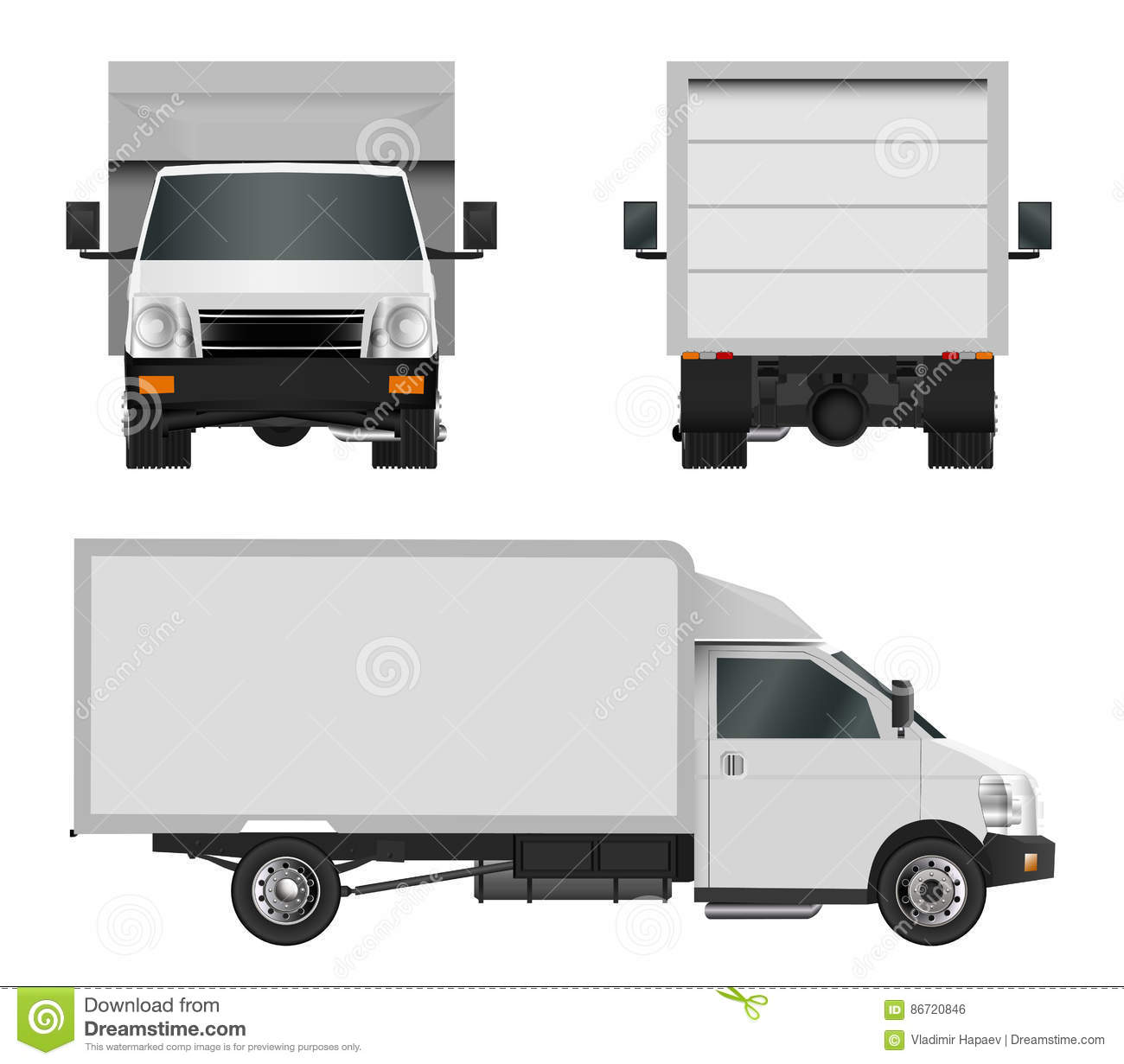 white truck template cargo van vector illustration eps 10 isolated on white background city. Black Bedroom Furniture Sets. Home Design Ideas