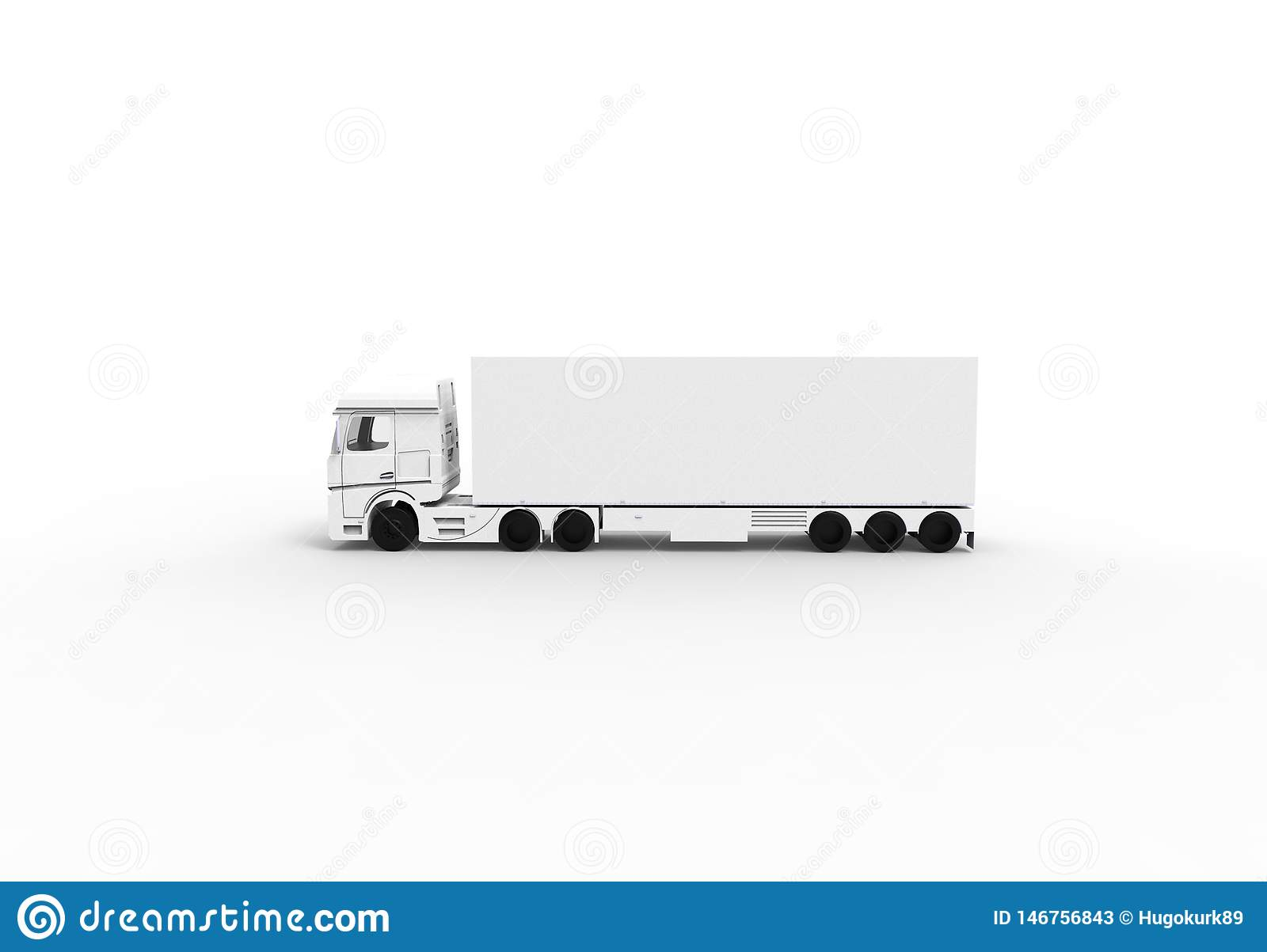 White truck with trailer isoalted