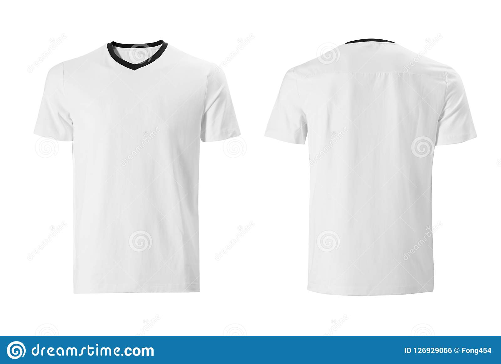 White Tshirt With Black Collar Design Template Isolated On White