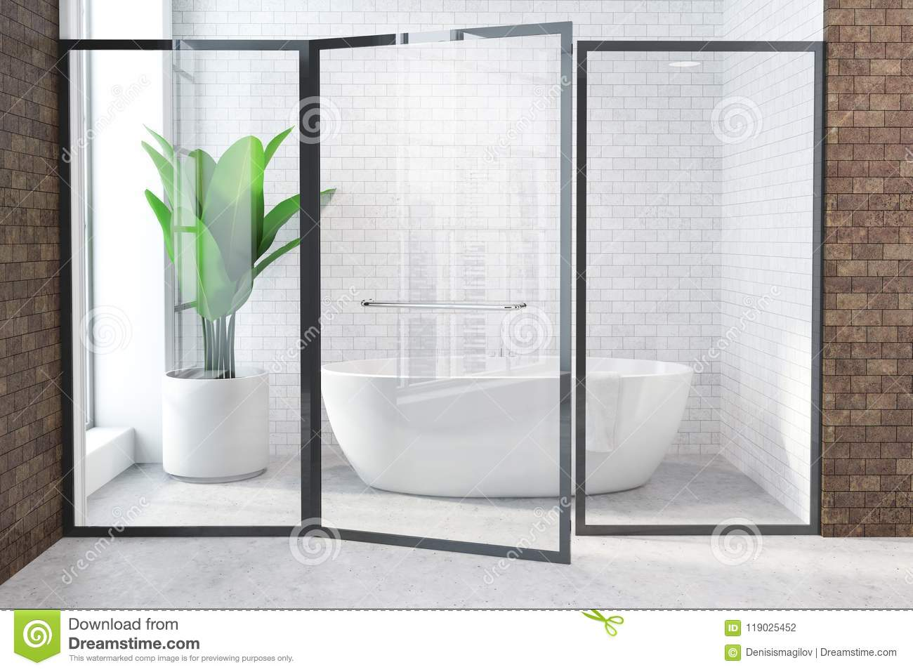 White Tub In White And Brown Bathroom Glass Door Stock Illustration