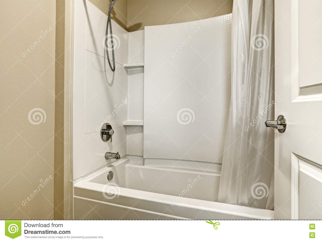 White Tub And Shower Combination Design Stock Image - Image of ...