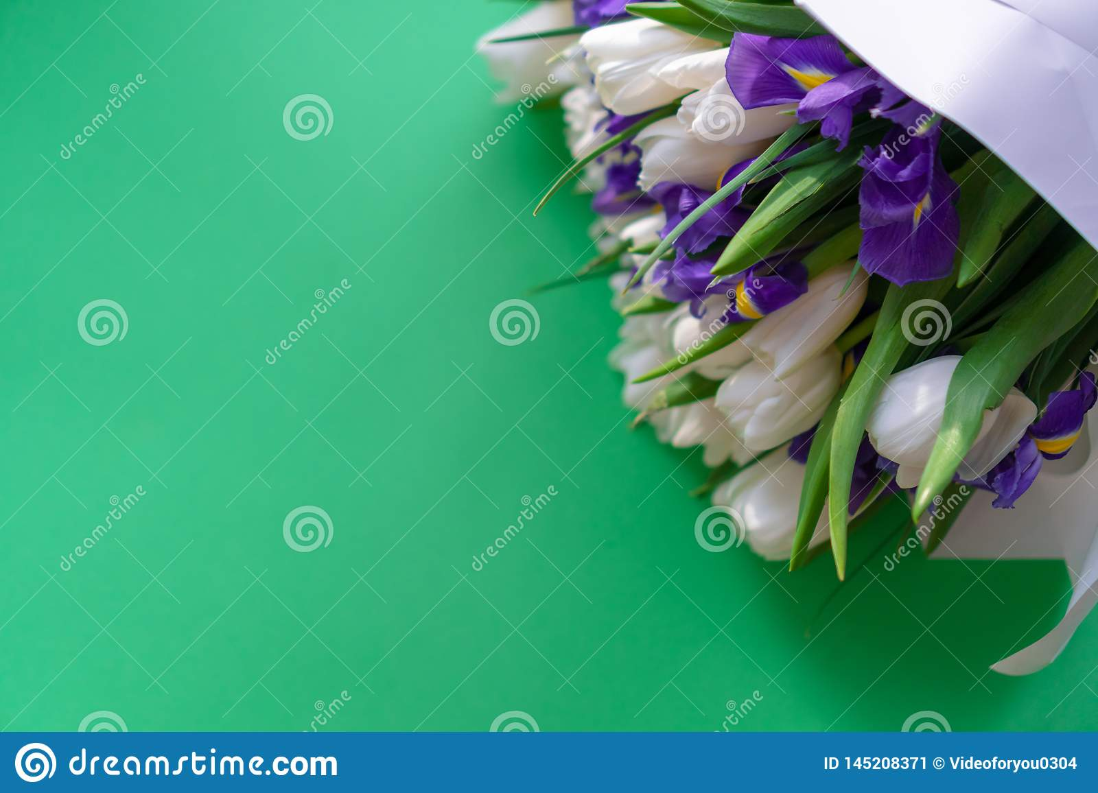 White tulips and purple irises on a green background