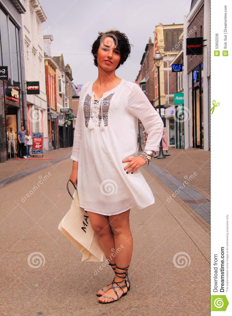 White Tunic Street Style Fashion Editorial Photo Image 53602236