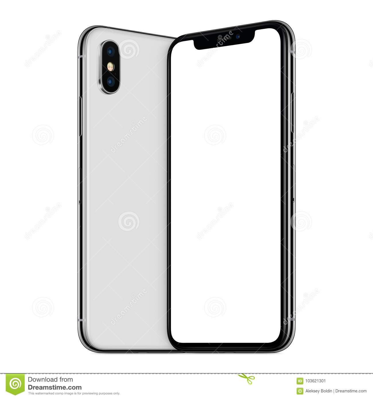 cheaper 75edc 0ac30 White Turned Smartphones Similar To IPhone X Mockup Front And Back ...