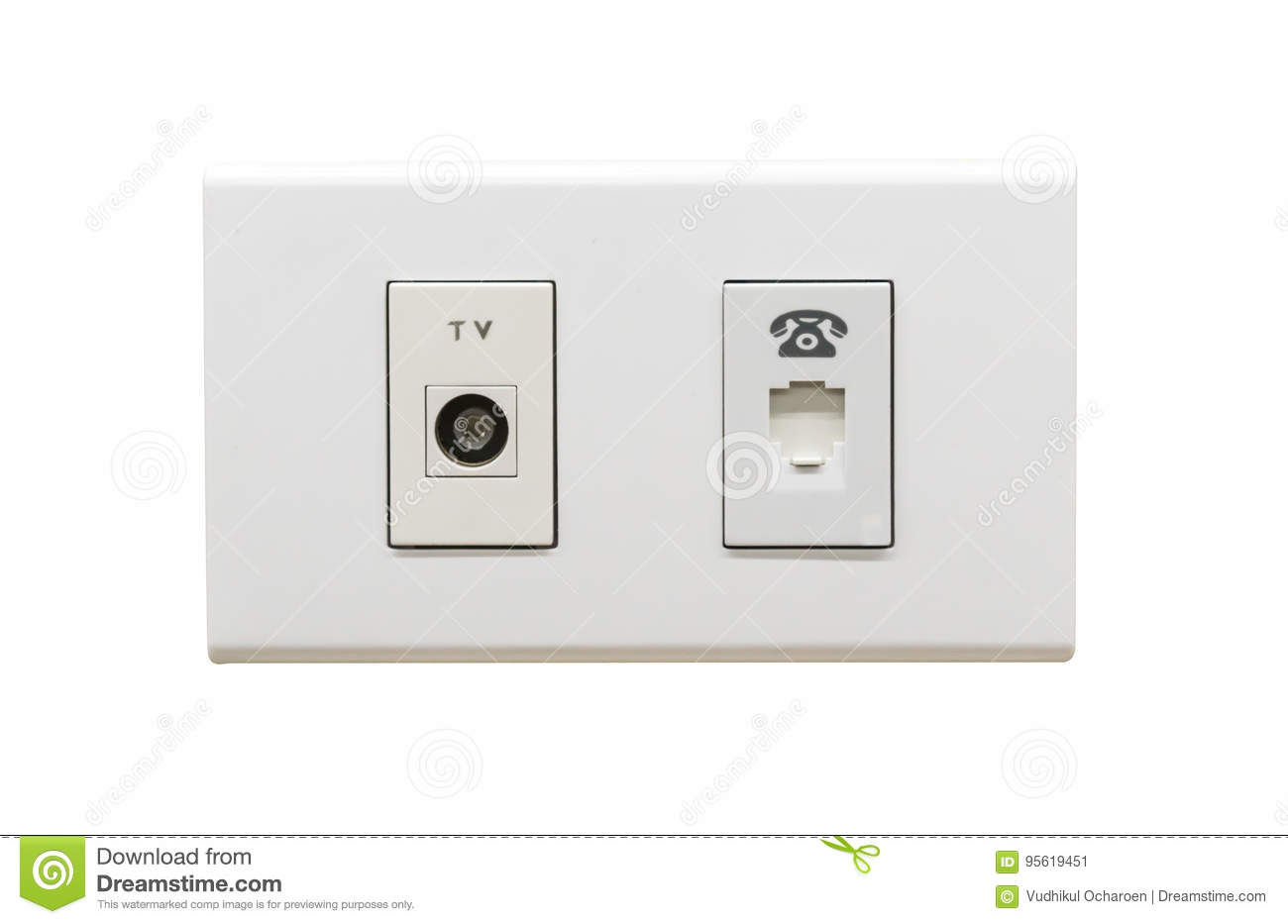 White TV Cable Connection And Telephone Wall Outlet Stock Image ...