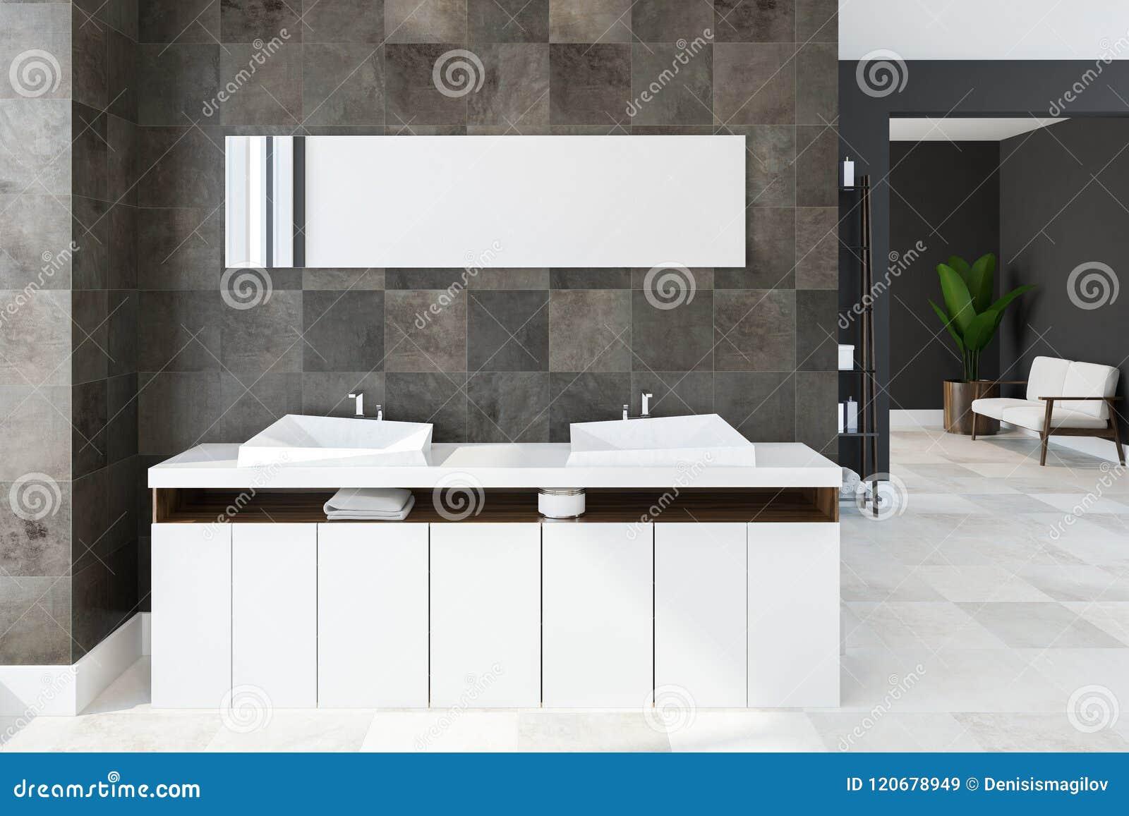 White Twin Sink Vanity Unit, Tiled Bathroom Stock Illustration ...