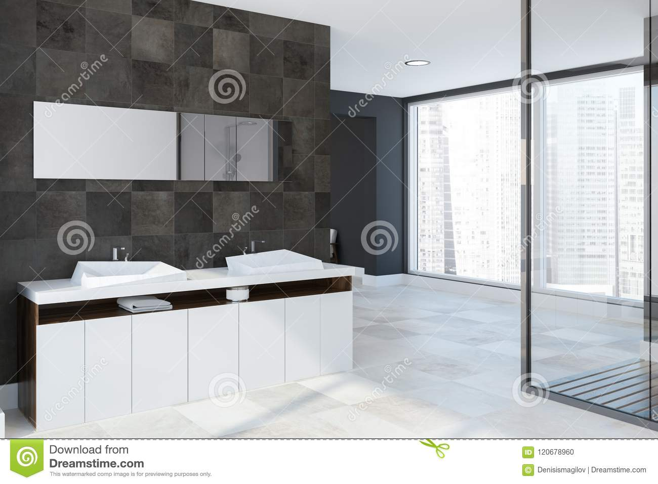 White Twin Sink Vanity Unit Tiled Bathroom Corner Stock Illustration Illustration Of Bathroom Contemporary 120678960