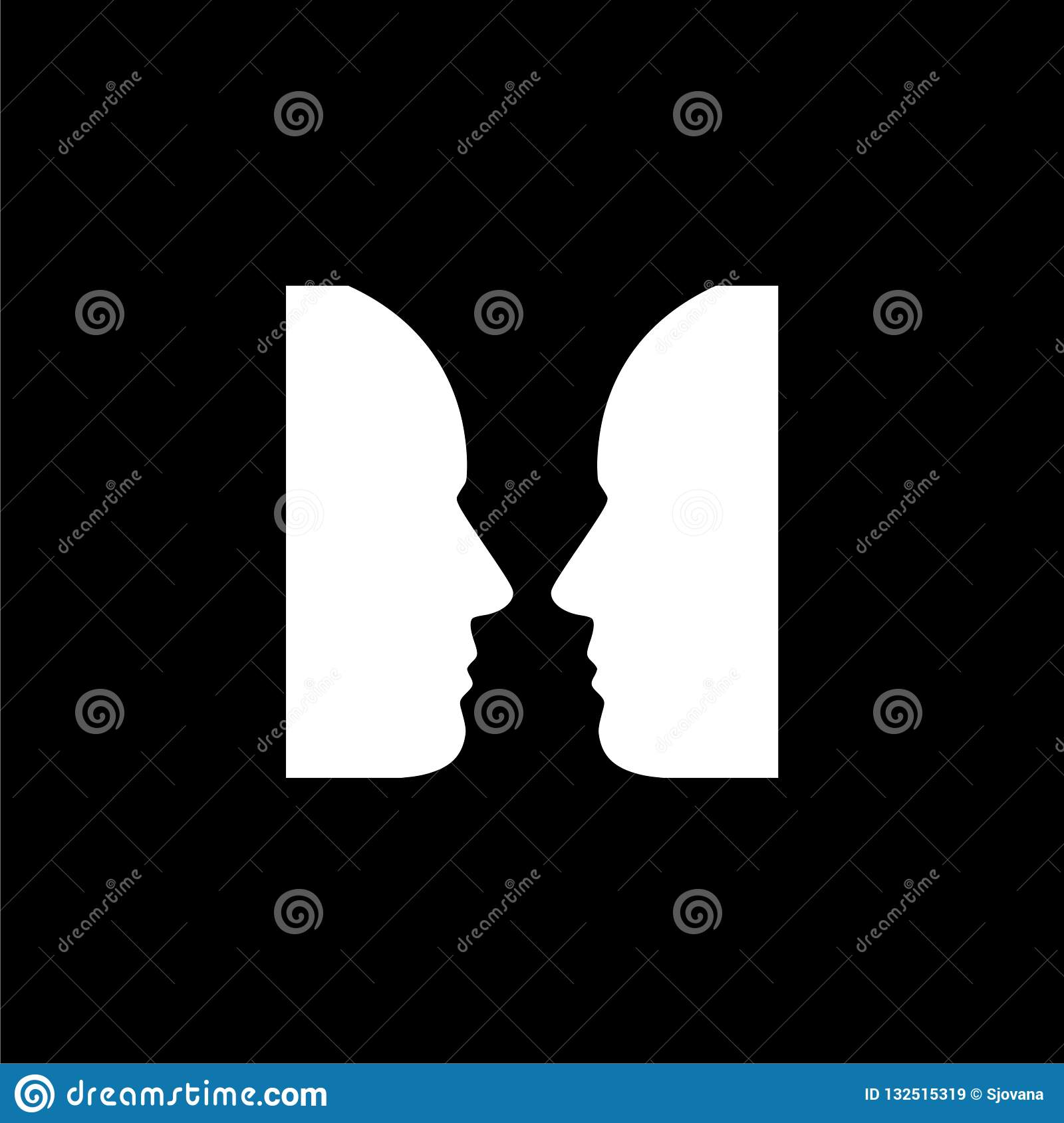 Two Face Profile View, Optical Illusion Icon Or Logo On ...  Optical Illusion Logo