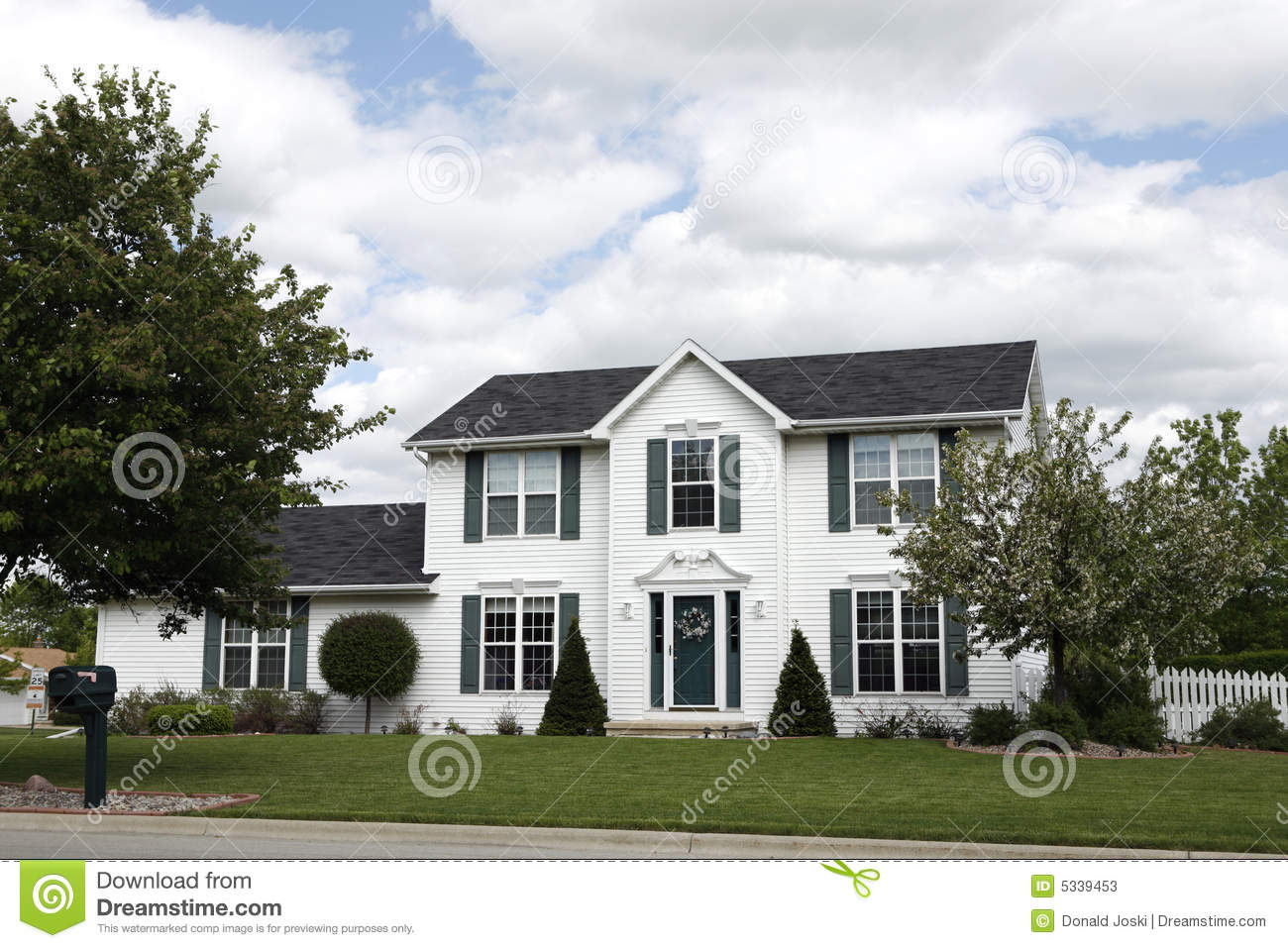 White Two Story Home Stock Photos Image 5339453