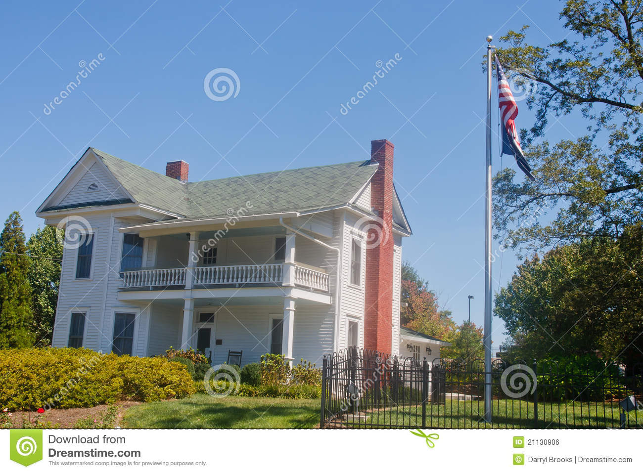 White two story traditional farm house royalty free stock for Traditional 2 story house