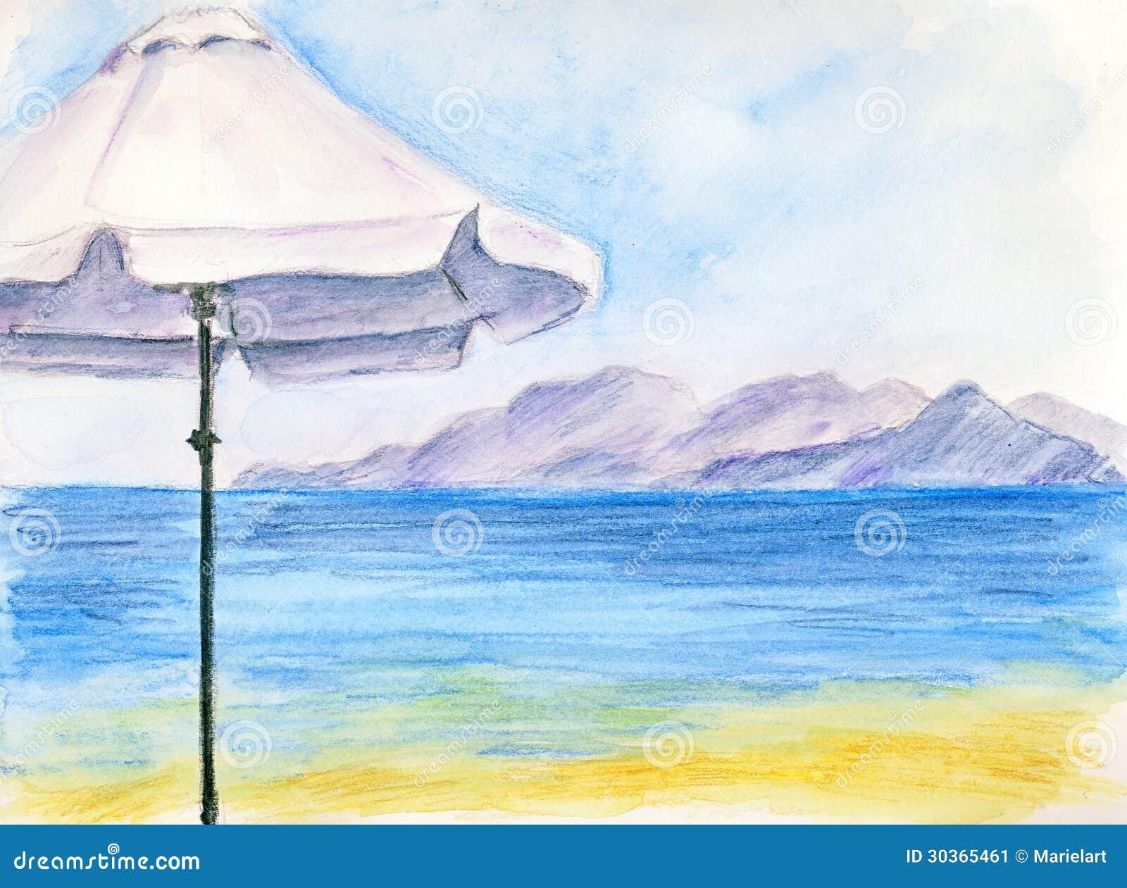 Beach chair and umbrella sketch - White Umbrella At The Beach
