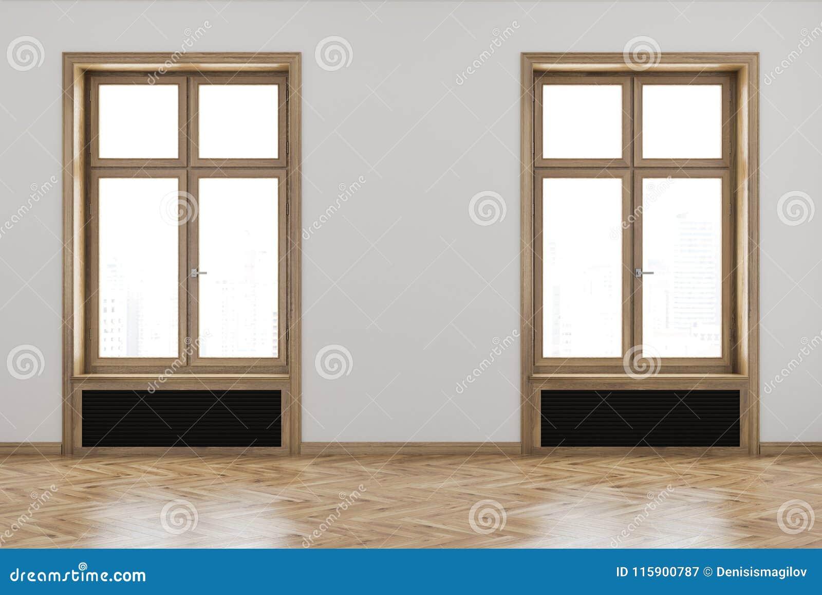 White Unfurnished Room Interior, Wooden Frames Stock Illustration ...