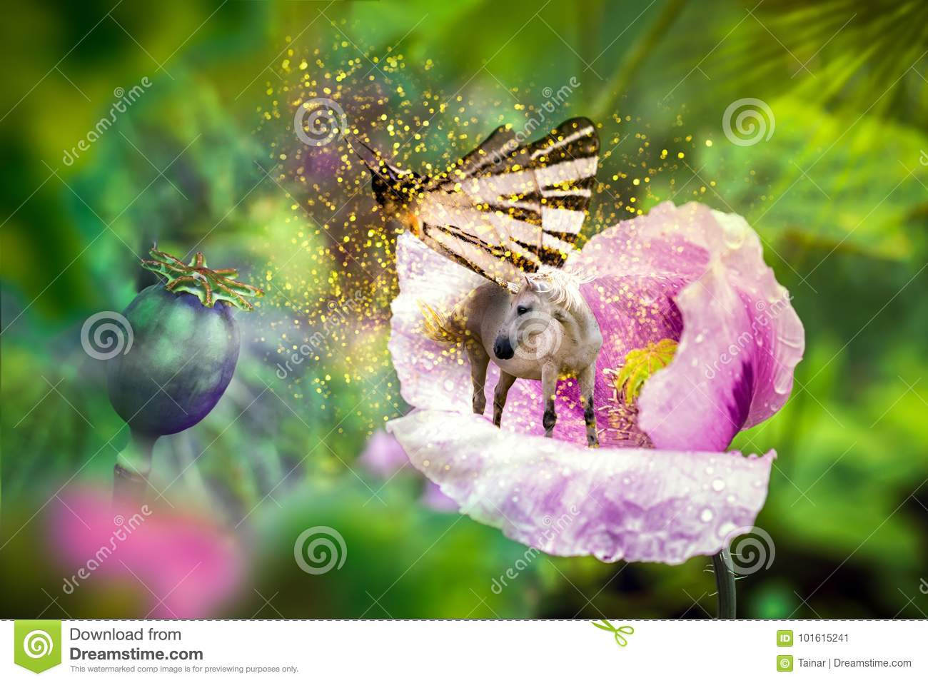 White Unicorn With Butterfly Wings On Blooming Pink Poppy Flower