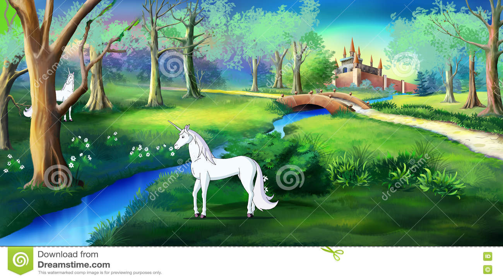 White Unicorn in a Magic Forest Near a Fairy Tale Castle