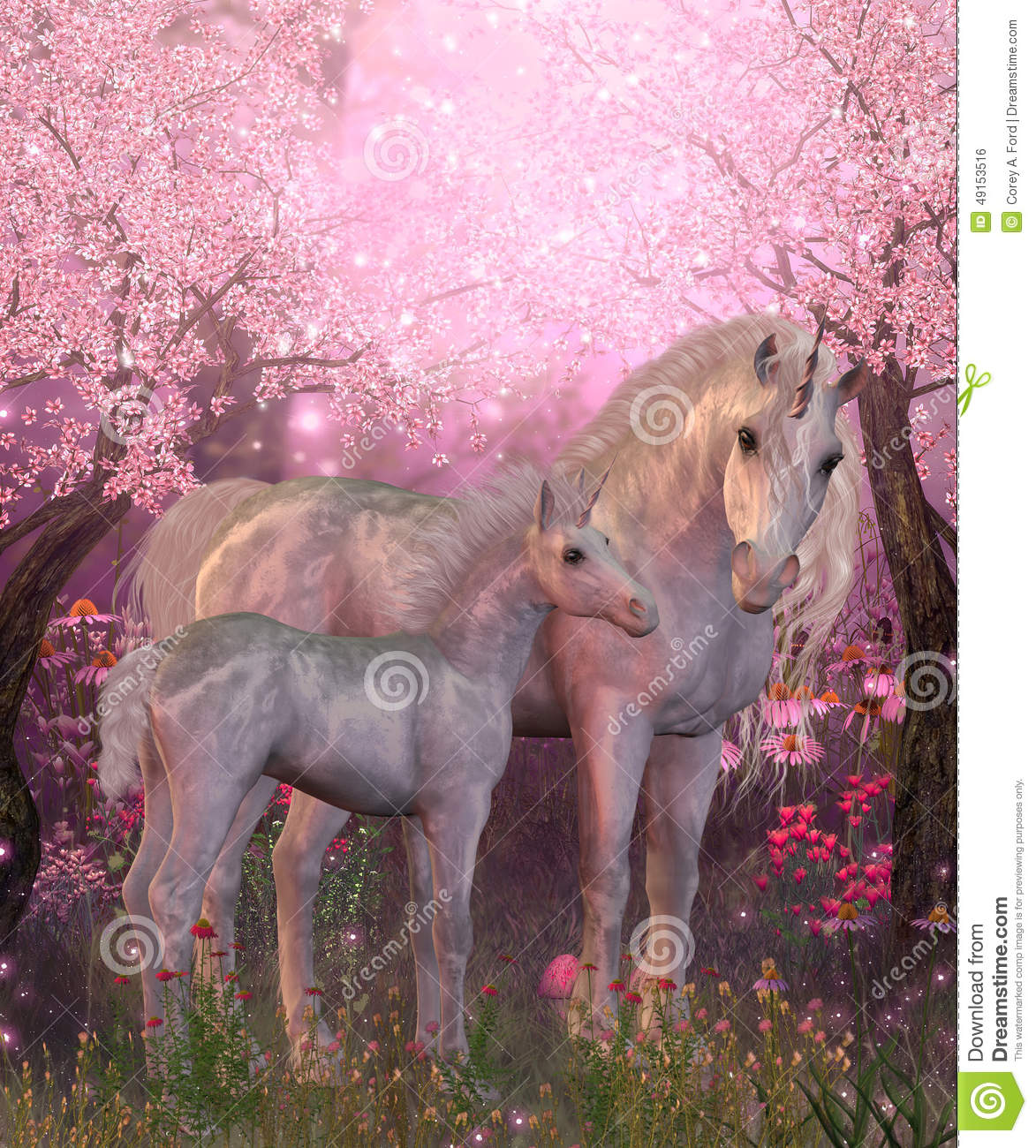 White Unicorn Mare And Foal Stock Illustration Image