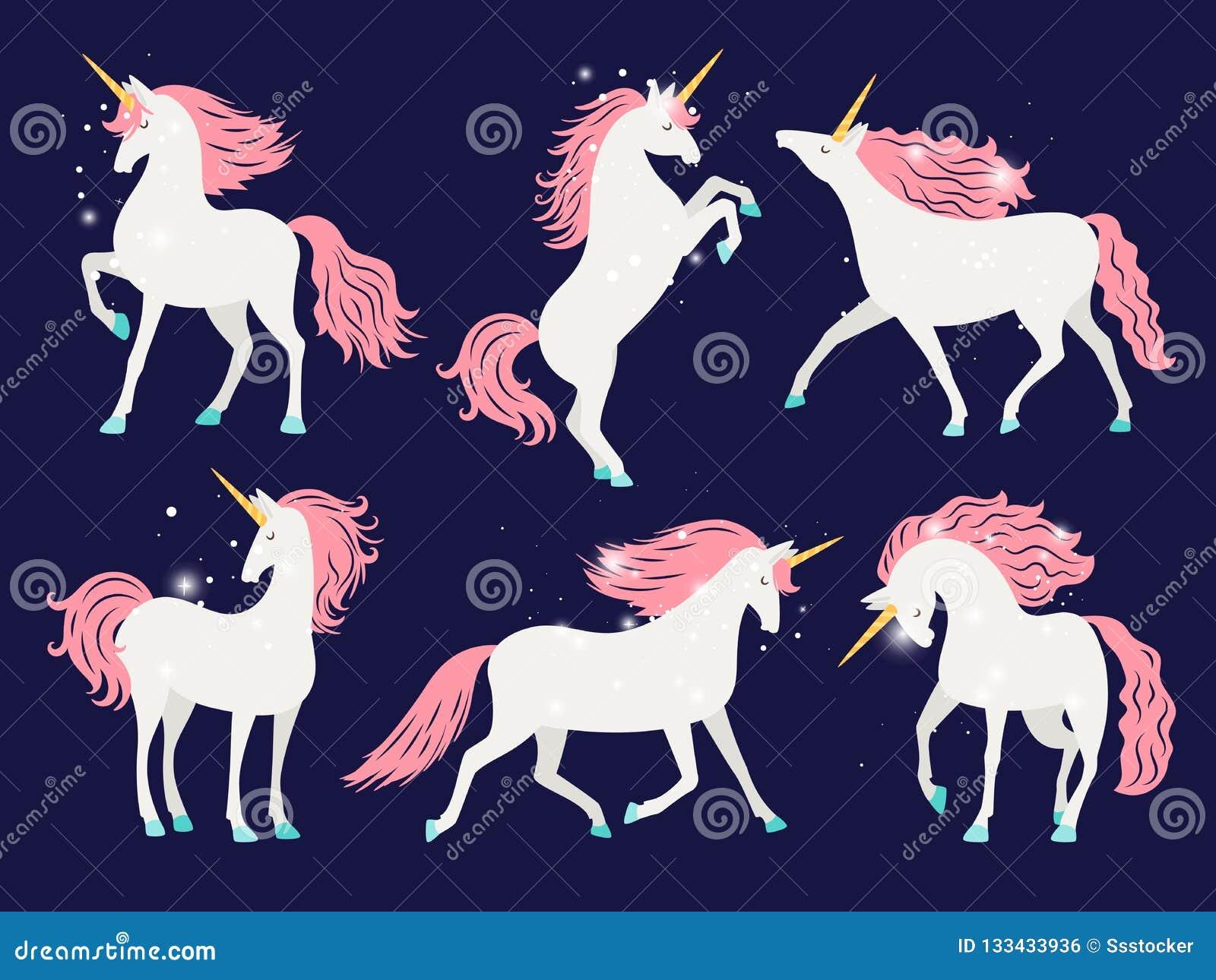 White Unicorn With Pink Mane Cartoon Pretty Unicorn Horse With Rose Mane For Girls T Shirt Design Vector Illustration Stock Vector Illustration Of Fantasy Little 133433936