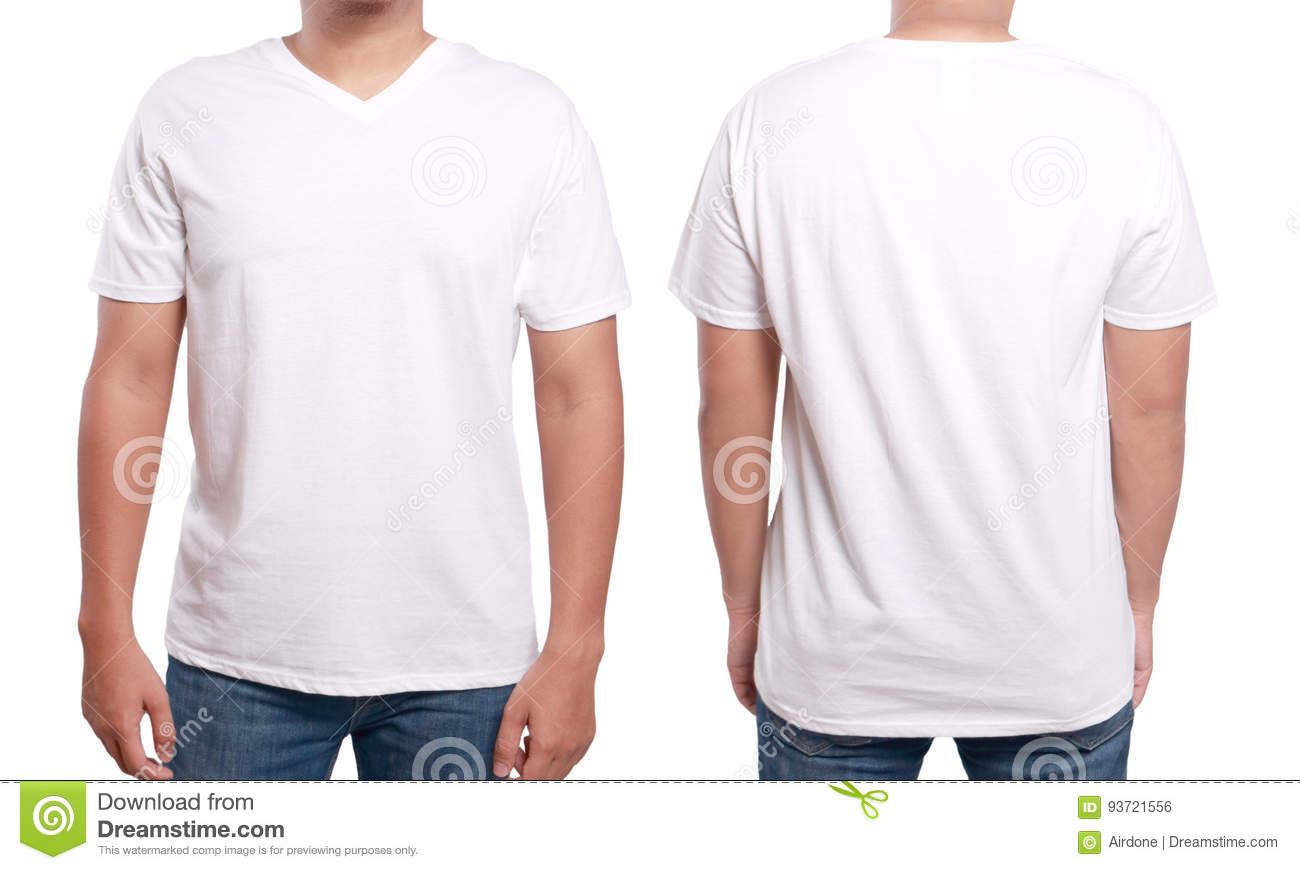 T Shirt Template With Model White V Neck Shirt Design Template Stock Photo Image