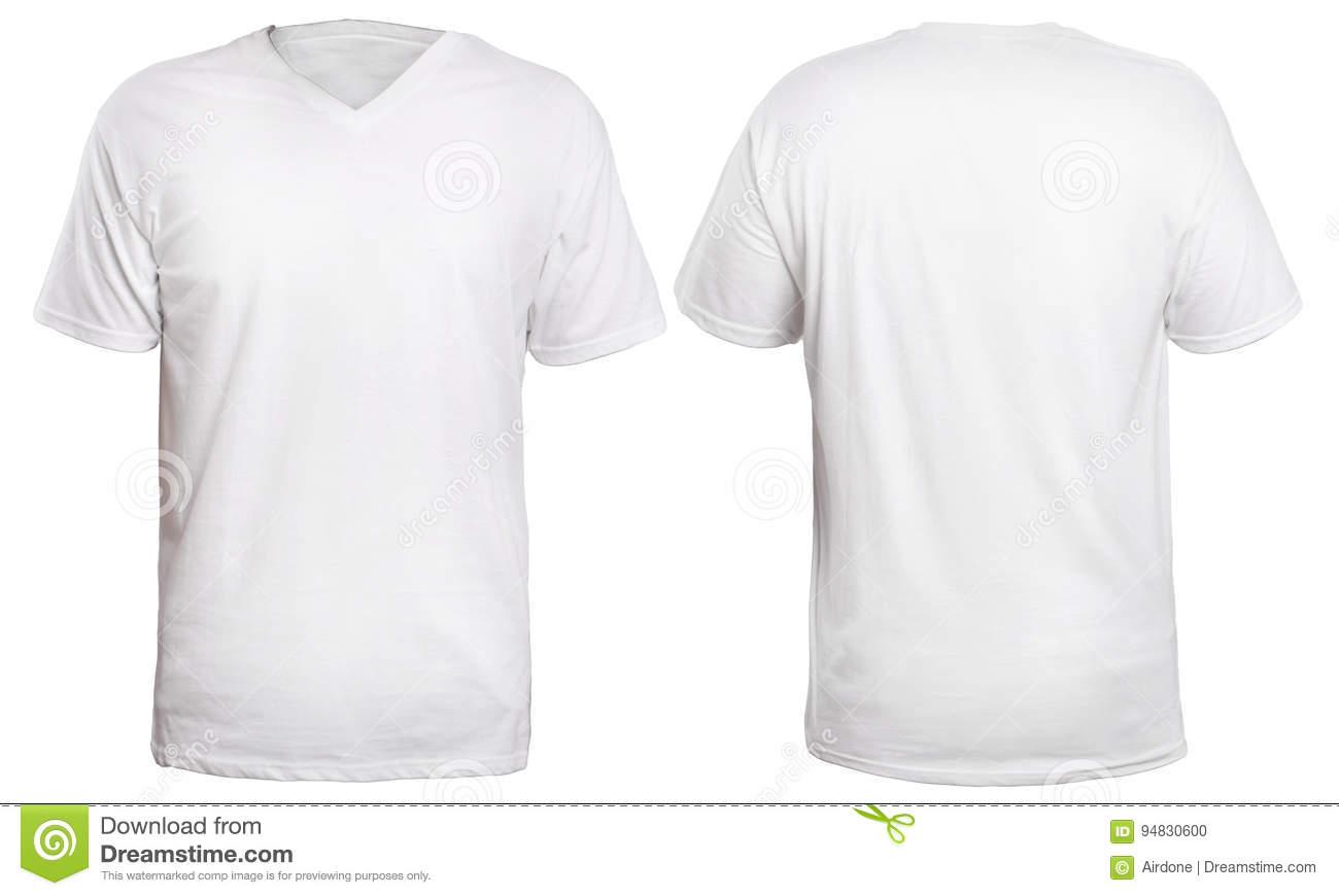 White v neck shirt mock up stock photo image of space for White t shirt template front and back