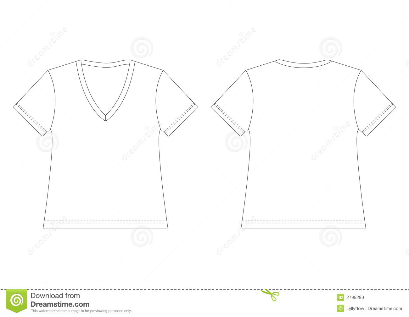 White shirt with v-nek ,Outline of plain, for use as template.