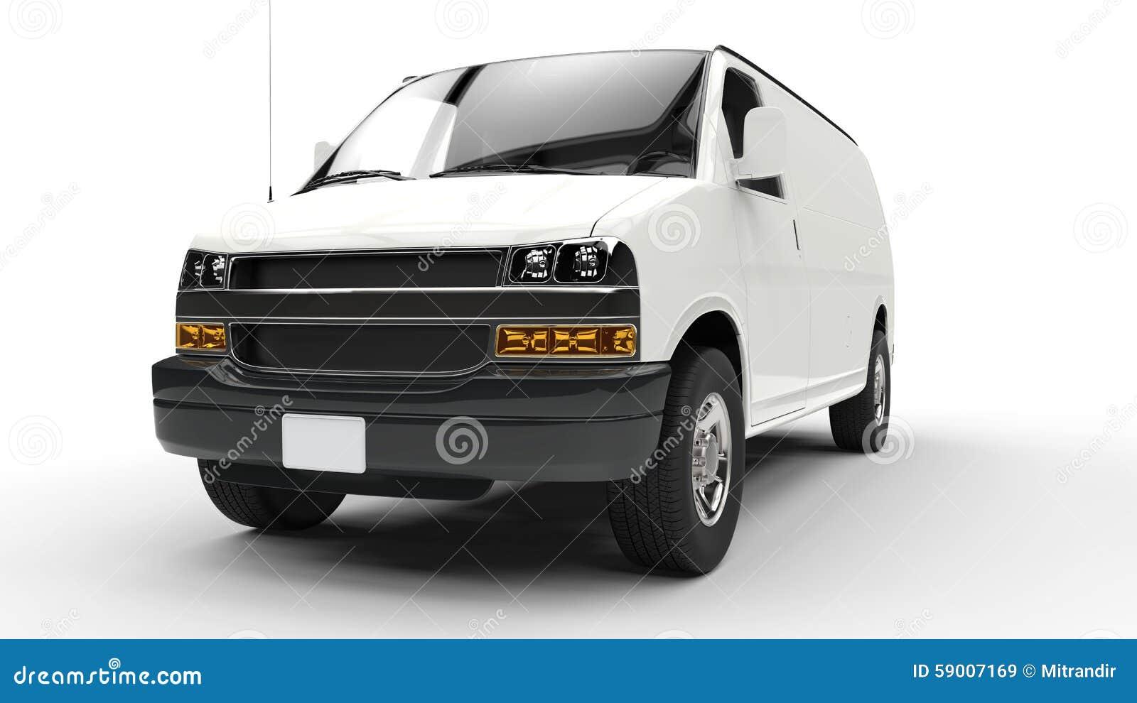 White Van Front View stock image. Image of minibus, energy ...