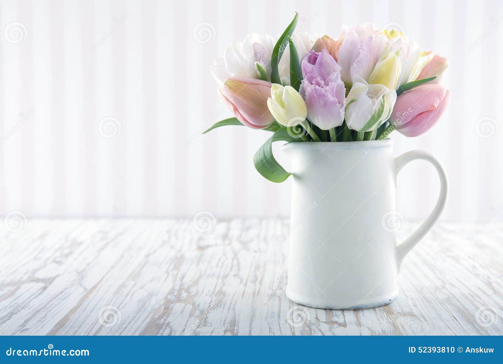 White Vase With Colorful Tulips Stock Photo Image 52393810