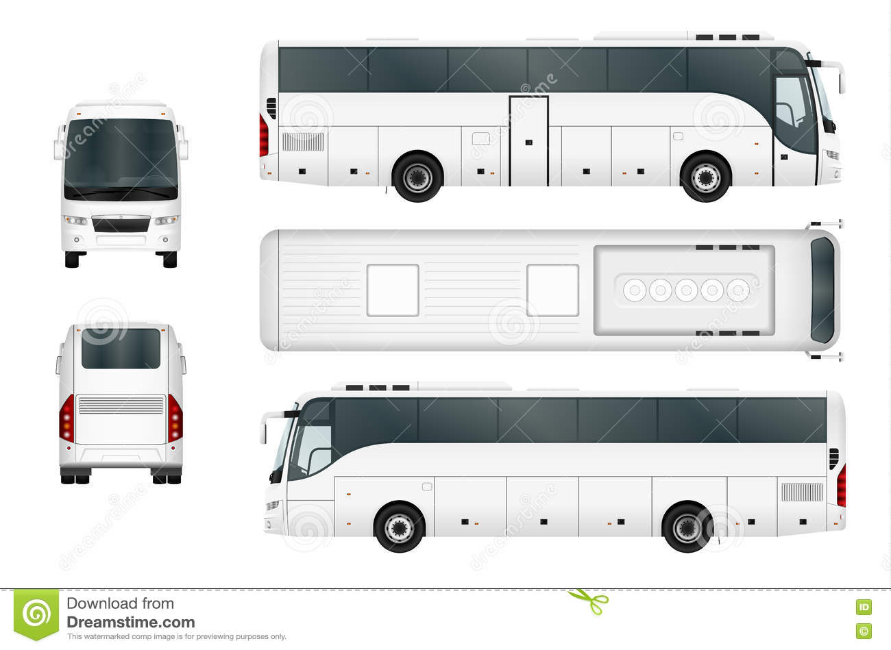 white vector bus template stock vector illustration of