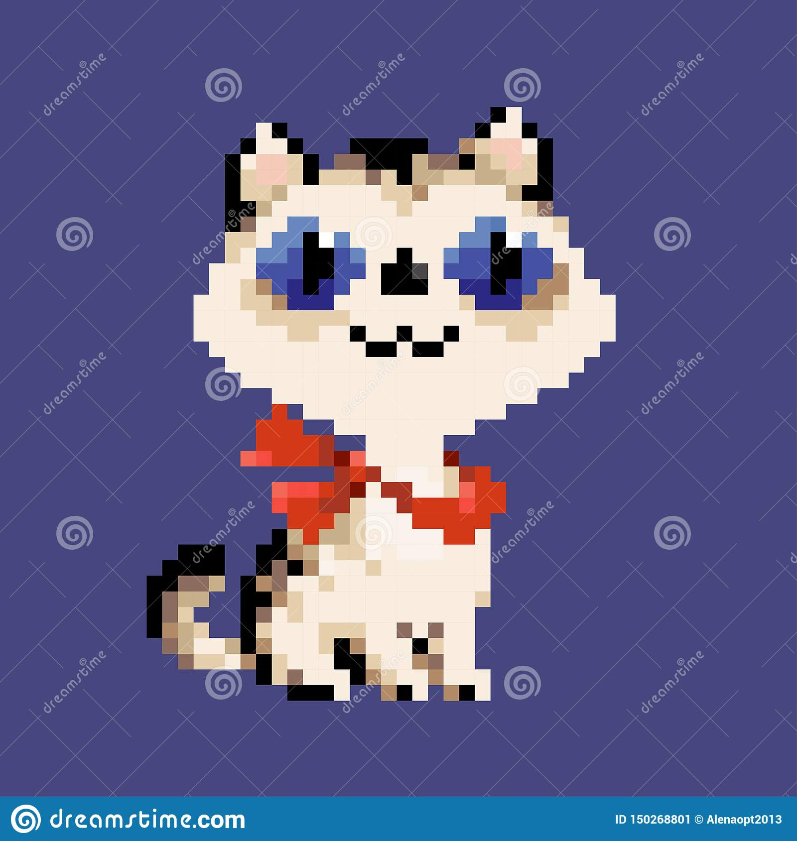 White vector pixel art cat in red scarf