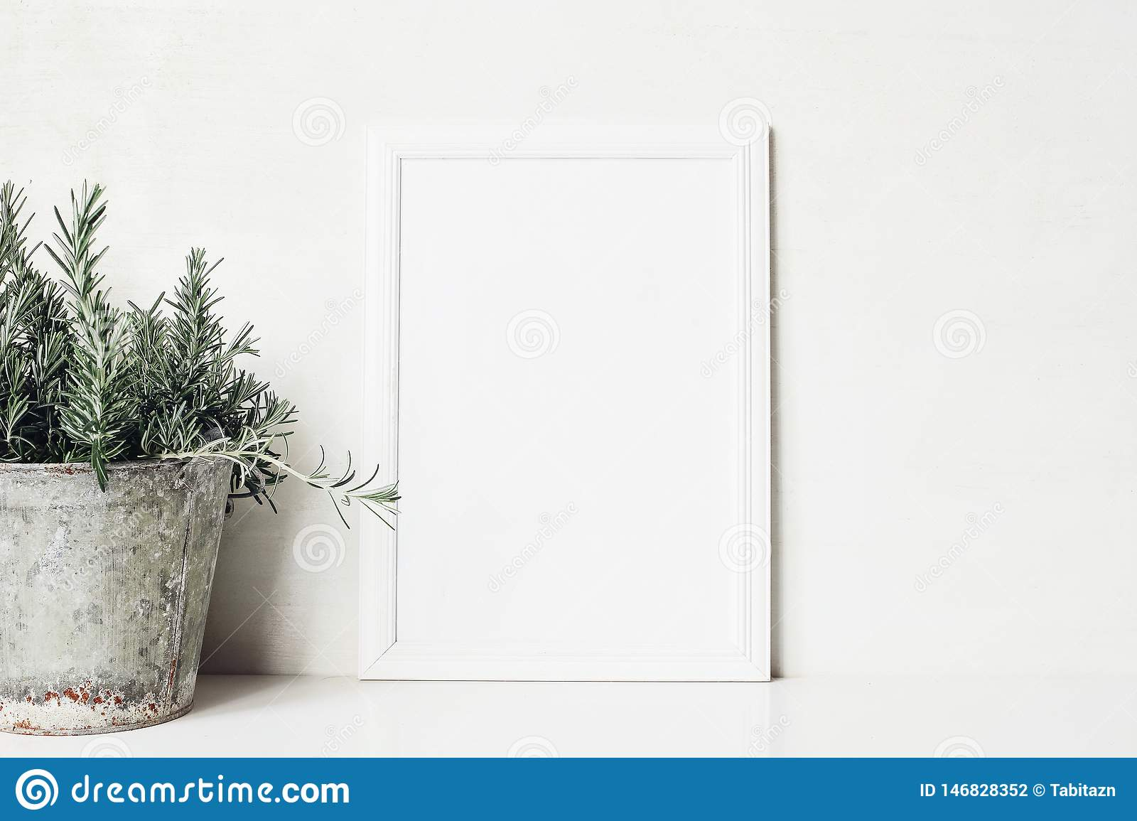White vertical blank wooden frame mockup with rosemary herb in old metal flower pot on the table. Rustic summer poster