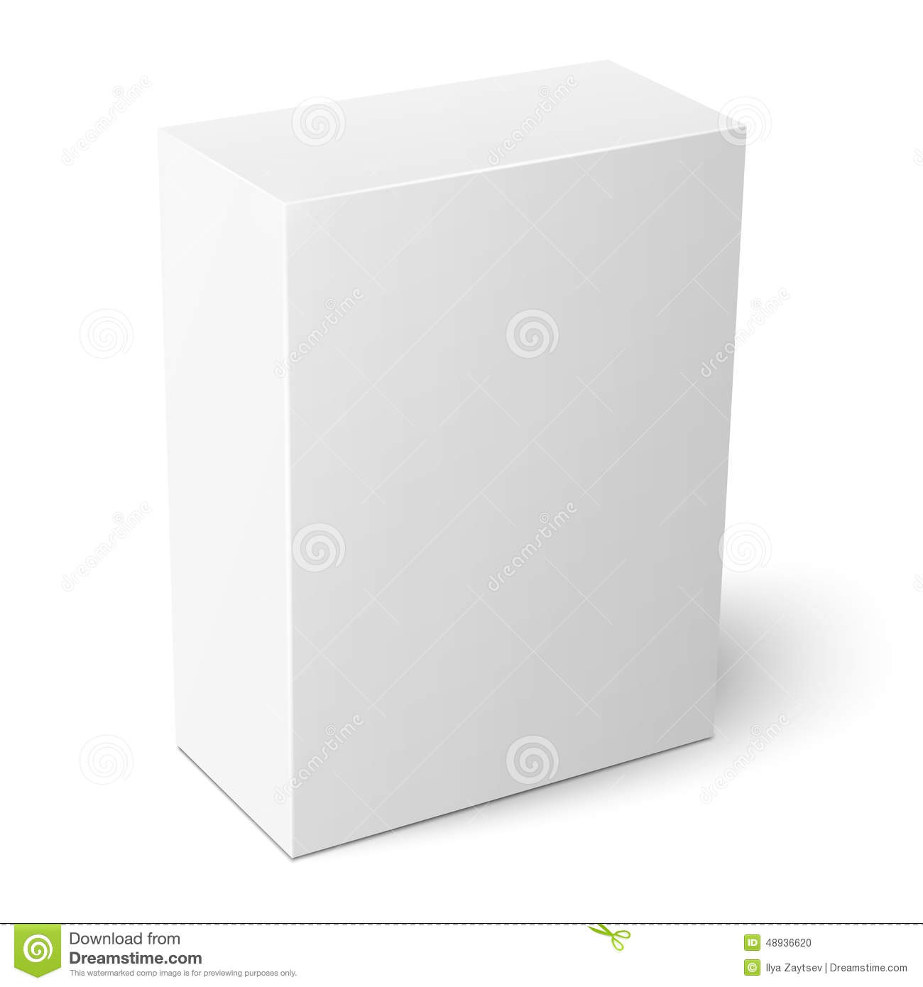 White Vertical Paper Box Template Stock Vector Illustration Of