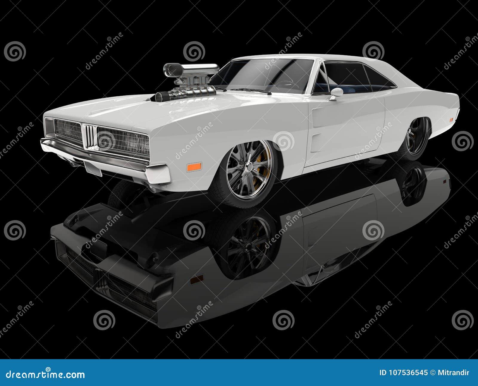 White Vintage American Muscle Car In Black Showroom Stock