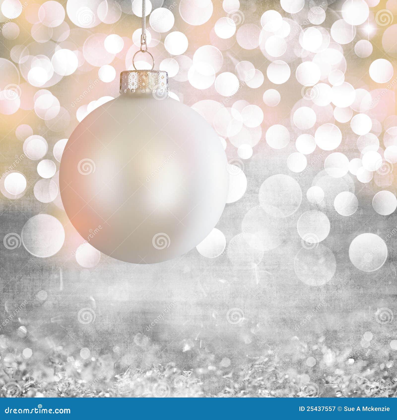 White Vintage Christmas Ornament Over Grey Grunge