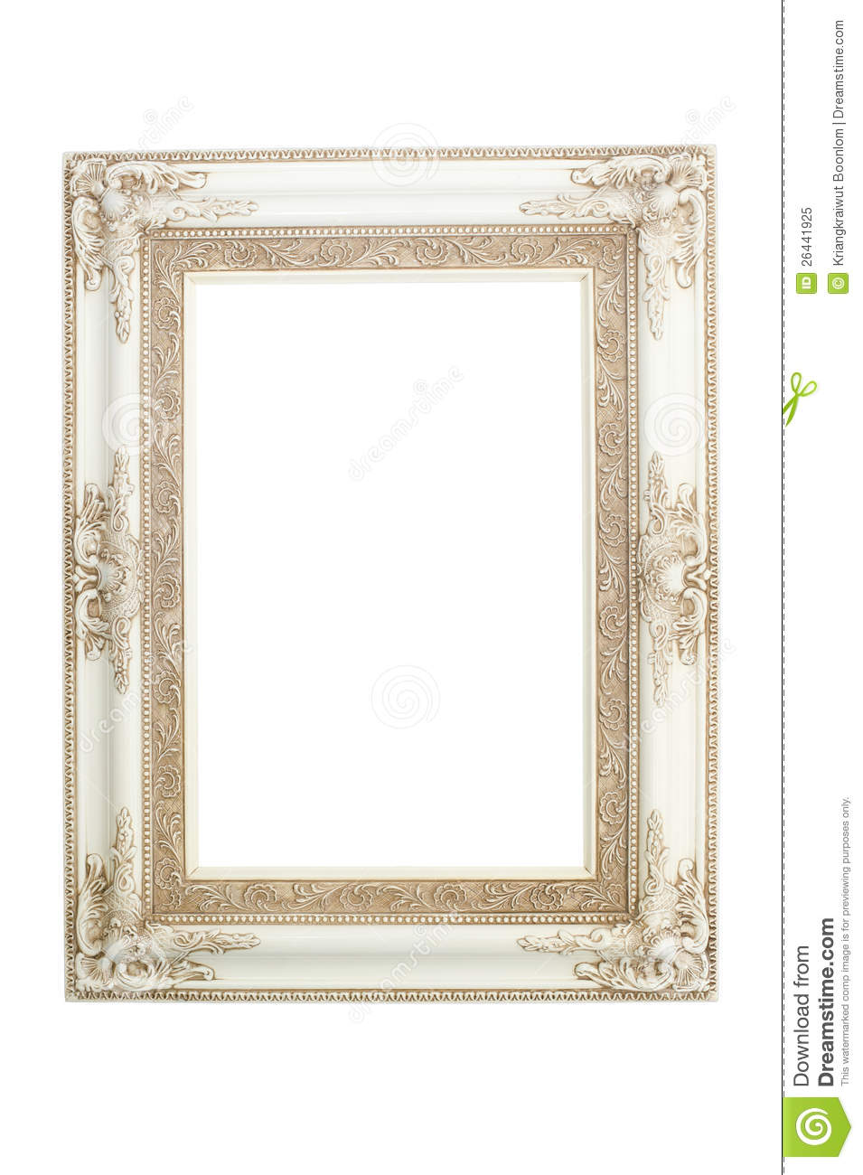 White Vintage Frame Isolated On White Background Royalty