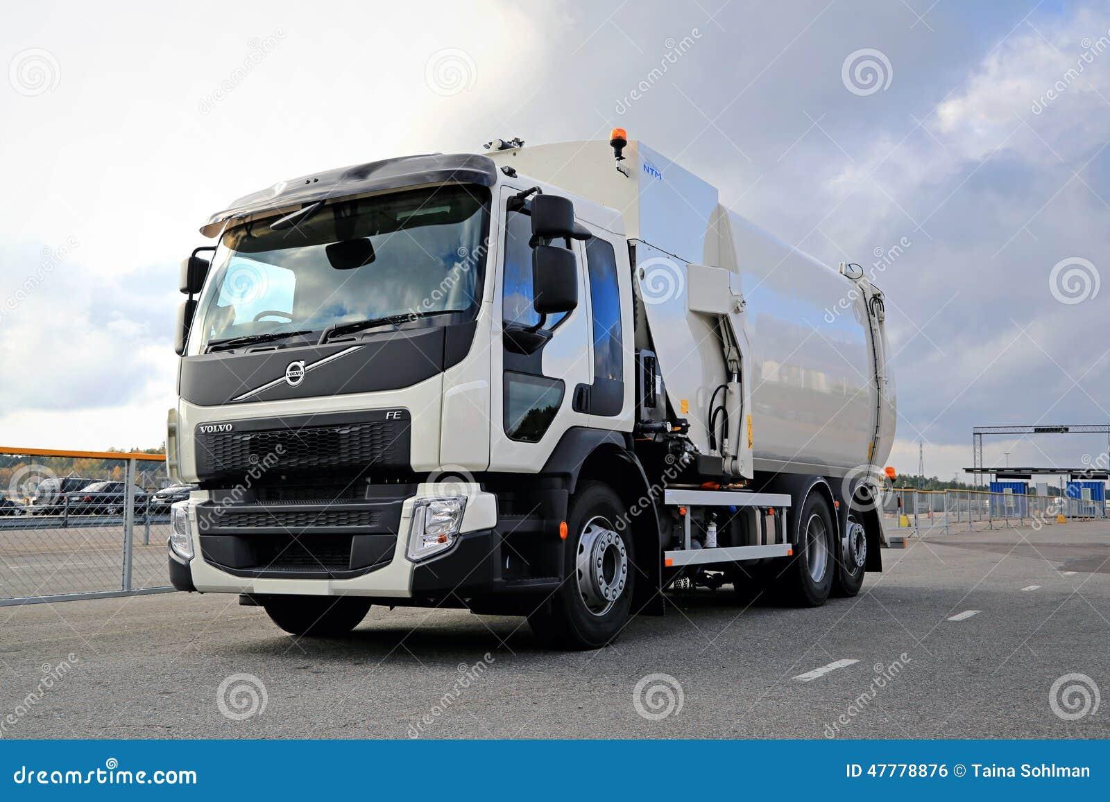 White Volvo FE Refuse Collector Truck. NAANTALI, FINLAND   OCTOBER 11, 2014: