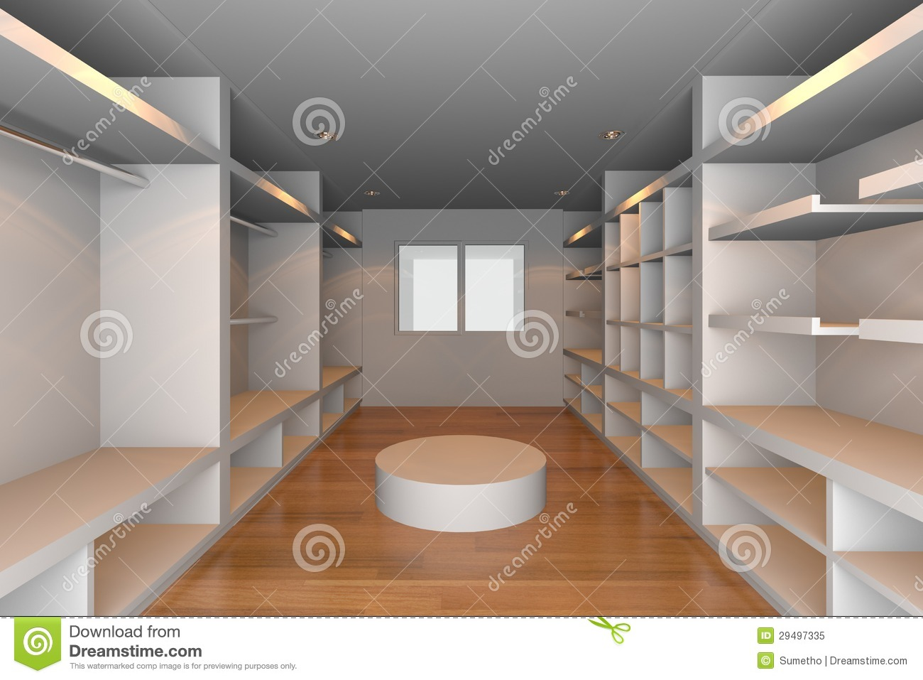 White Walk In Closet Stock Illustration Illustration Of