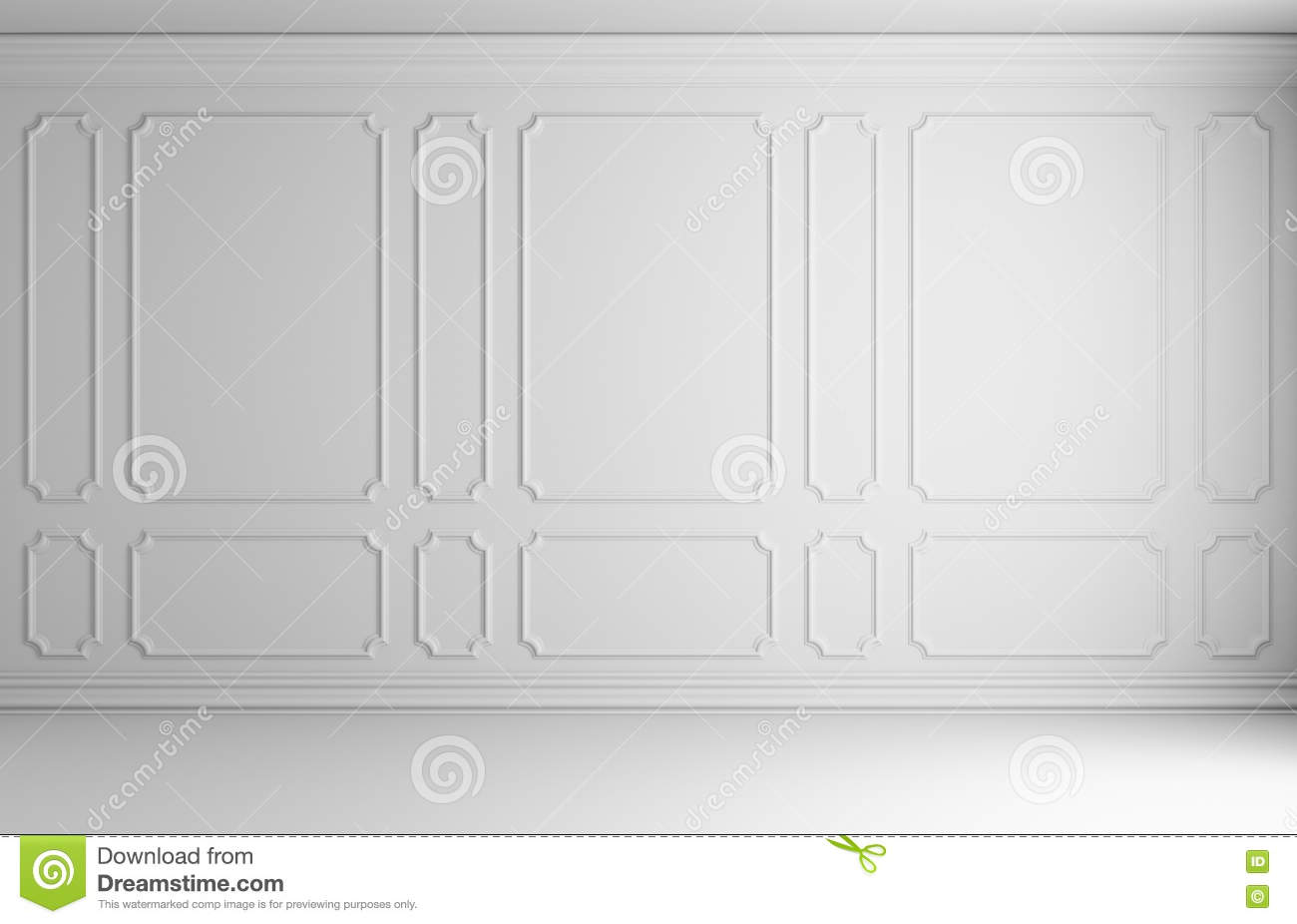 White Wall In Classic Style Room Stock Illustration