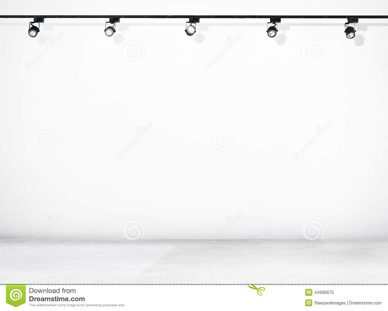White Wall And Concrete Floor With Spotlights Stock Photo - Image ... Empty Brick Wall