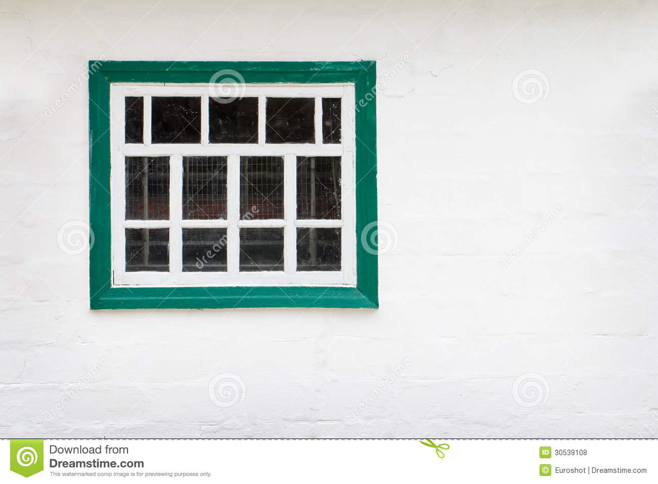 White Wall With Green Window Frame Background Stock Photo - Image of ...