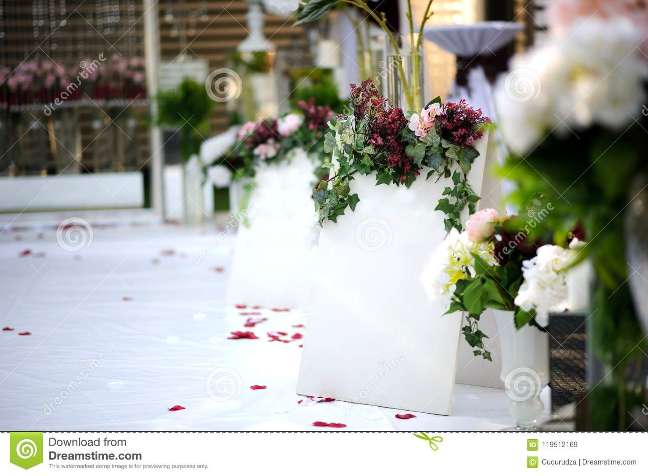 White Wall For Inscription On Wedding Decoration Vintage Style Stock