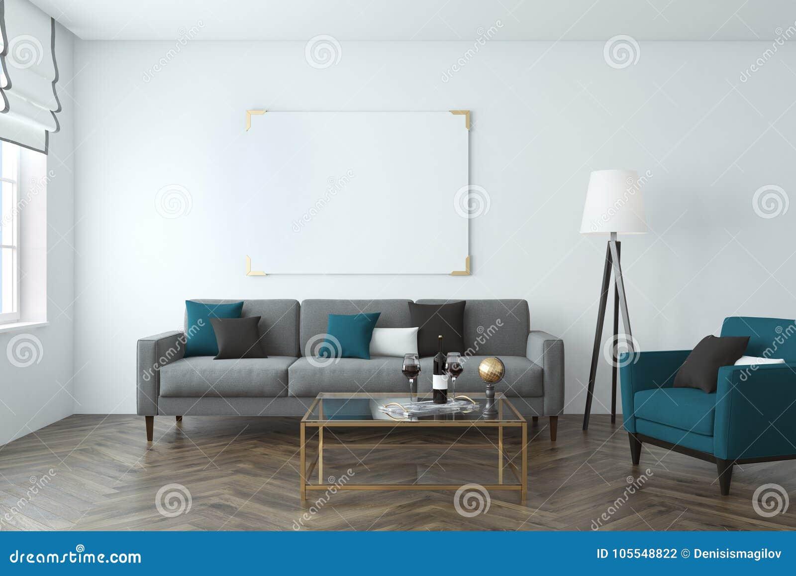 White Wall Living Room, Sofa, Poster Stock Illustration ...