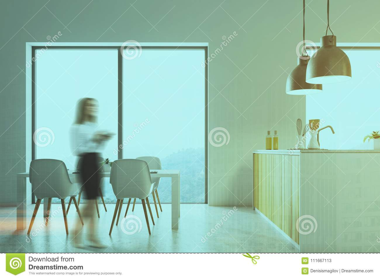 White Kitchen, Wooden Countertops Blur Stock Image - Image of dining ...