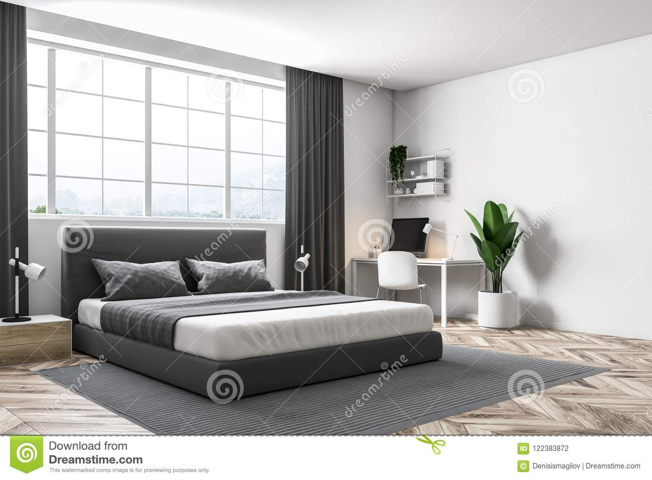 Letto Matrimoniale Sotto La Finestra.White Wall Master Bedroom Corner Stock Illustration Illustration