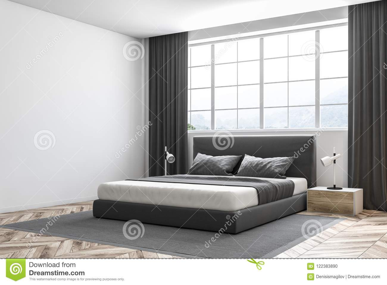Letto Matrimoniale Sotto La Finestra.White Wall Master Bedroom Interior Siide View Stock Illustration