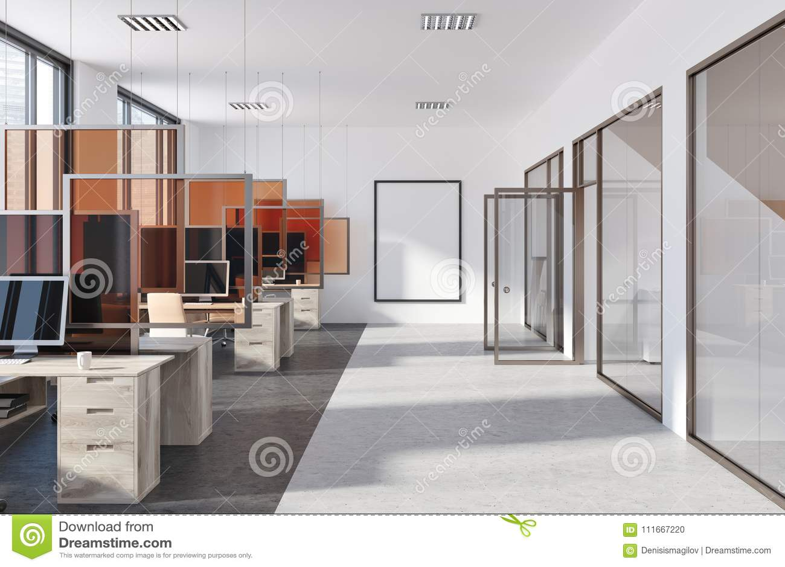 Modern Office Poster Glass Doors Stock Photo Image Of Decor