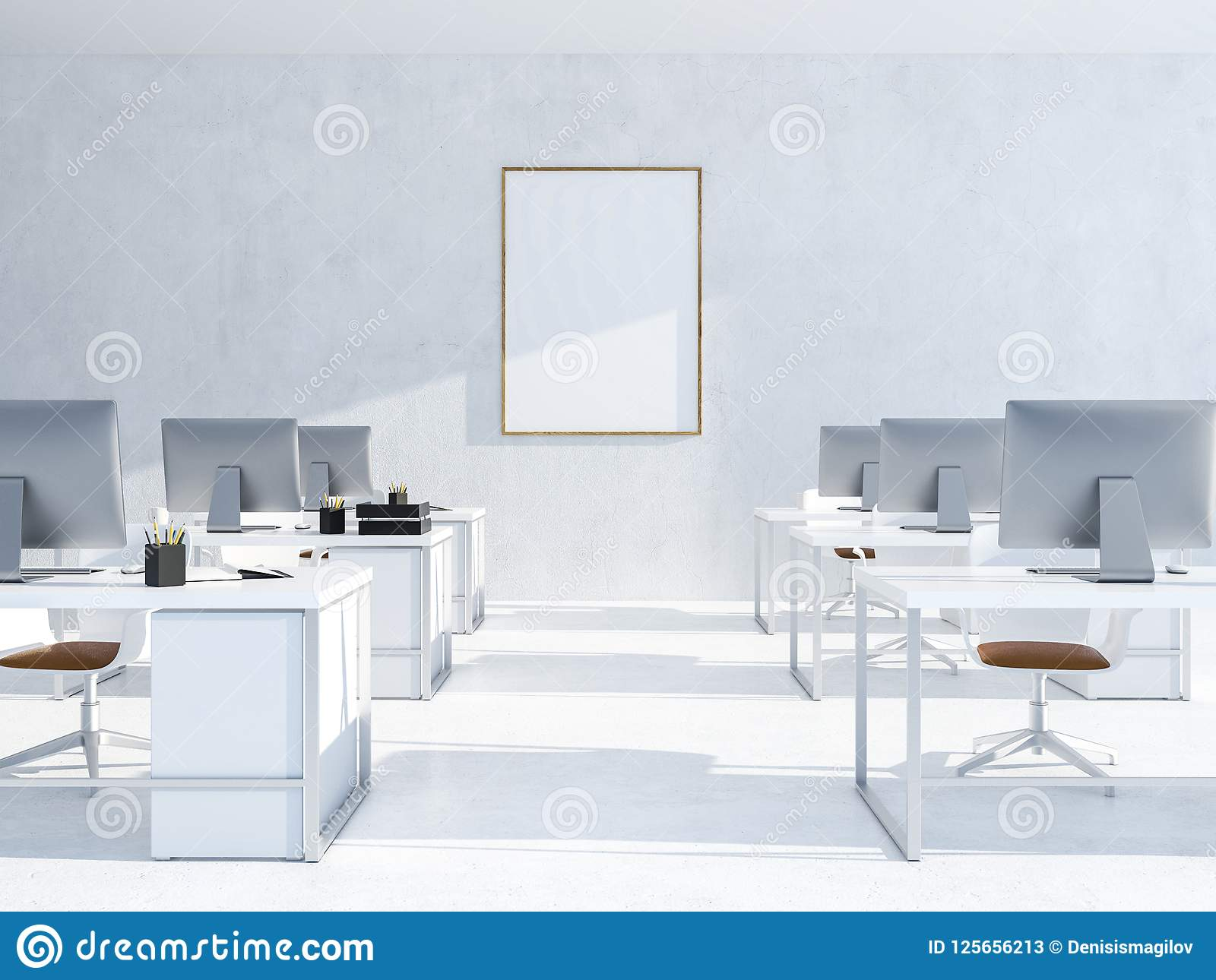 White Wall Office Workplace, Poster Frame Stock Illustration ...