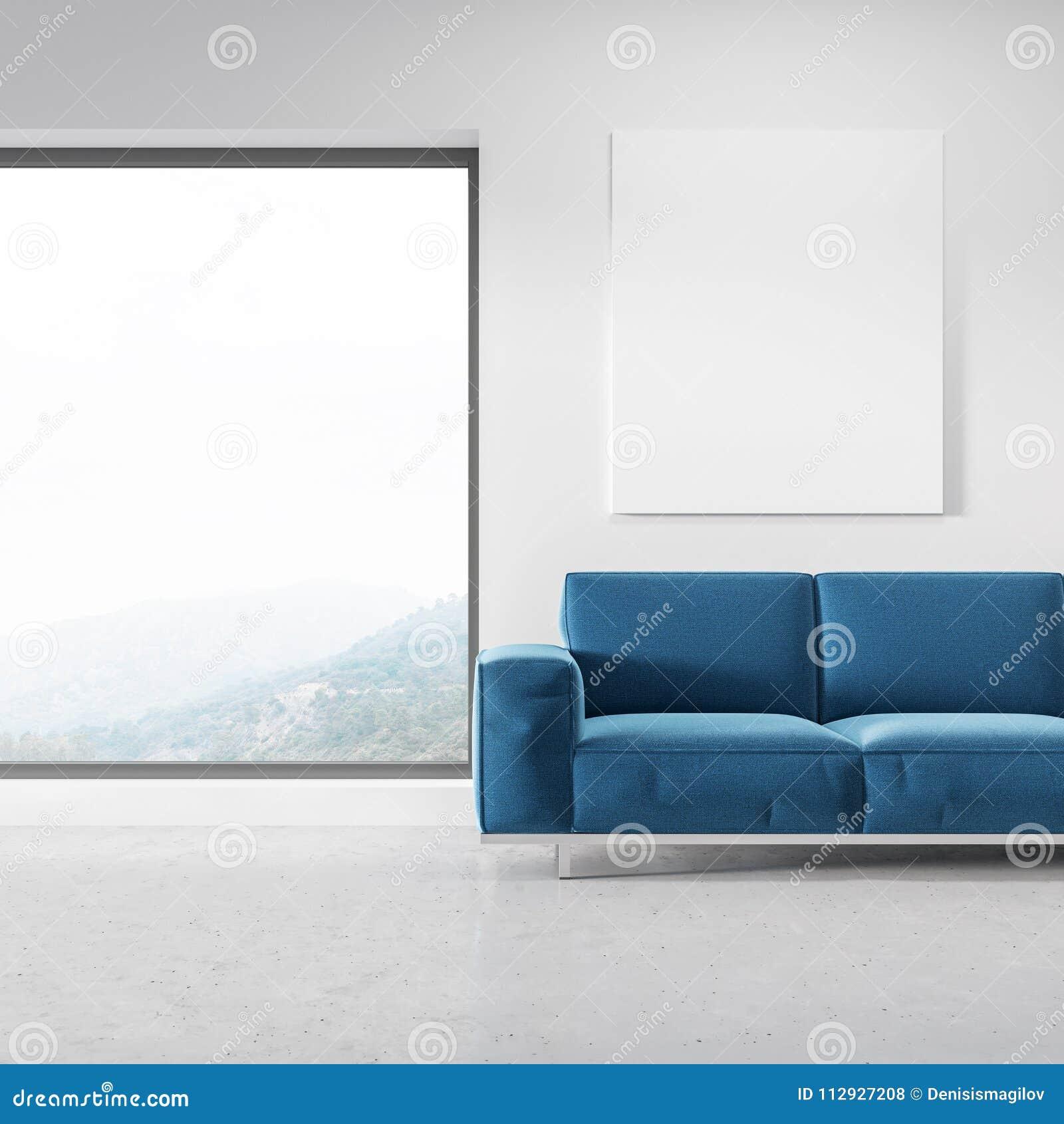 Admirable Panoramic Living Room Blue Sofa Poster Stock Illustration Uwap Interior Chair Design Uwaporg