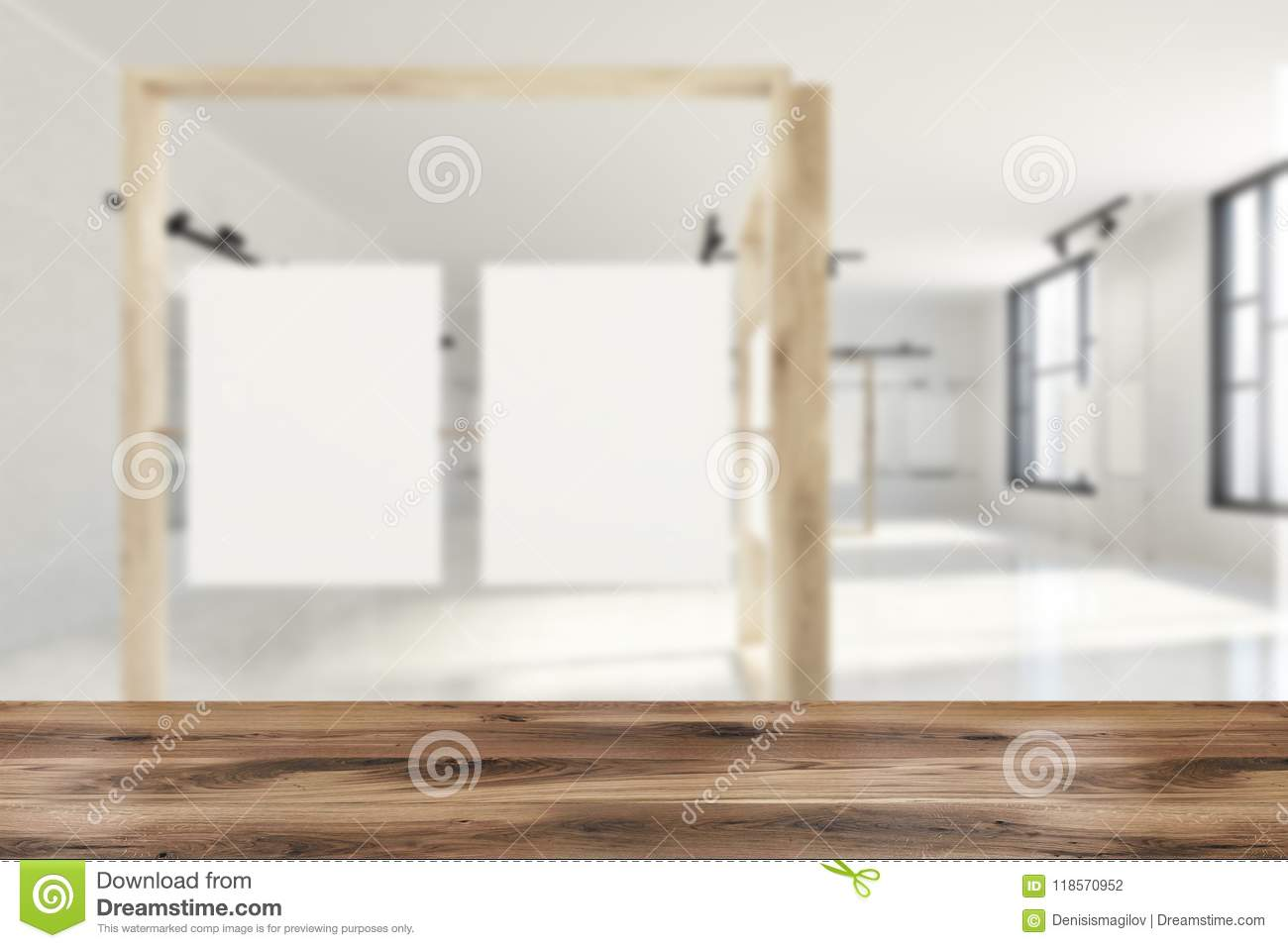 White And Wooden Poster Gallery Blur Stock Illustration ...