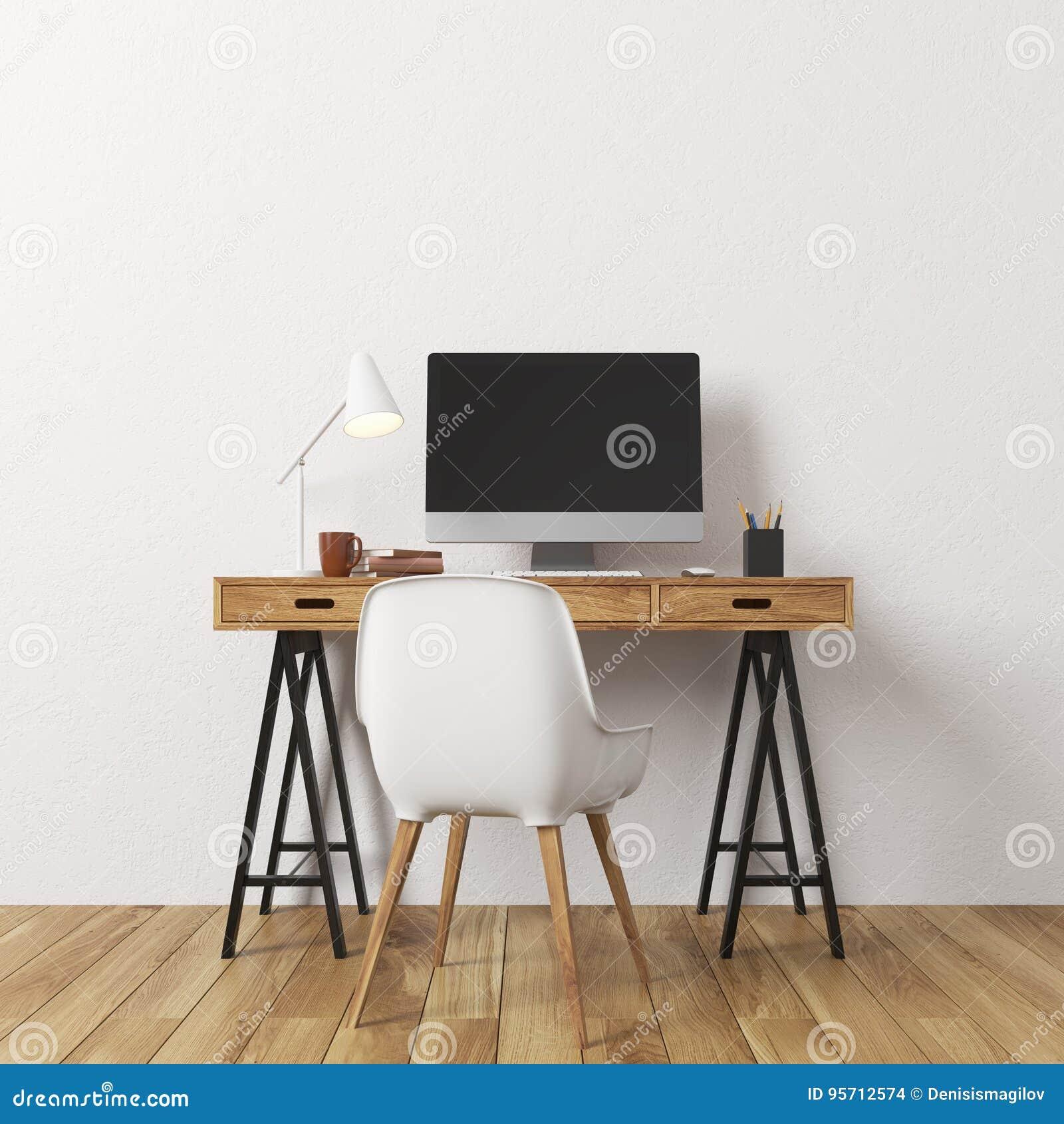 White Wall Room Computer Desk Stock Illustration Illustration Of Device Office 95712574