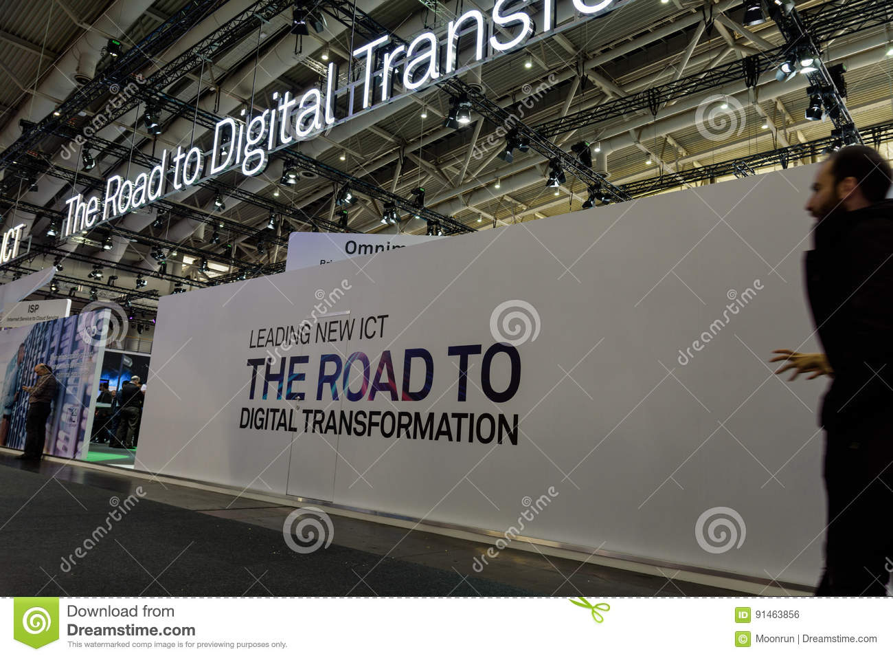 White wall with slogan about digital transformation at CeBIT2017