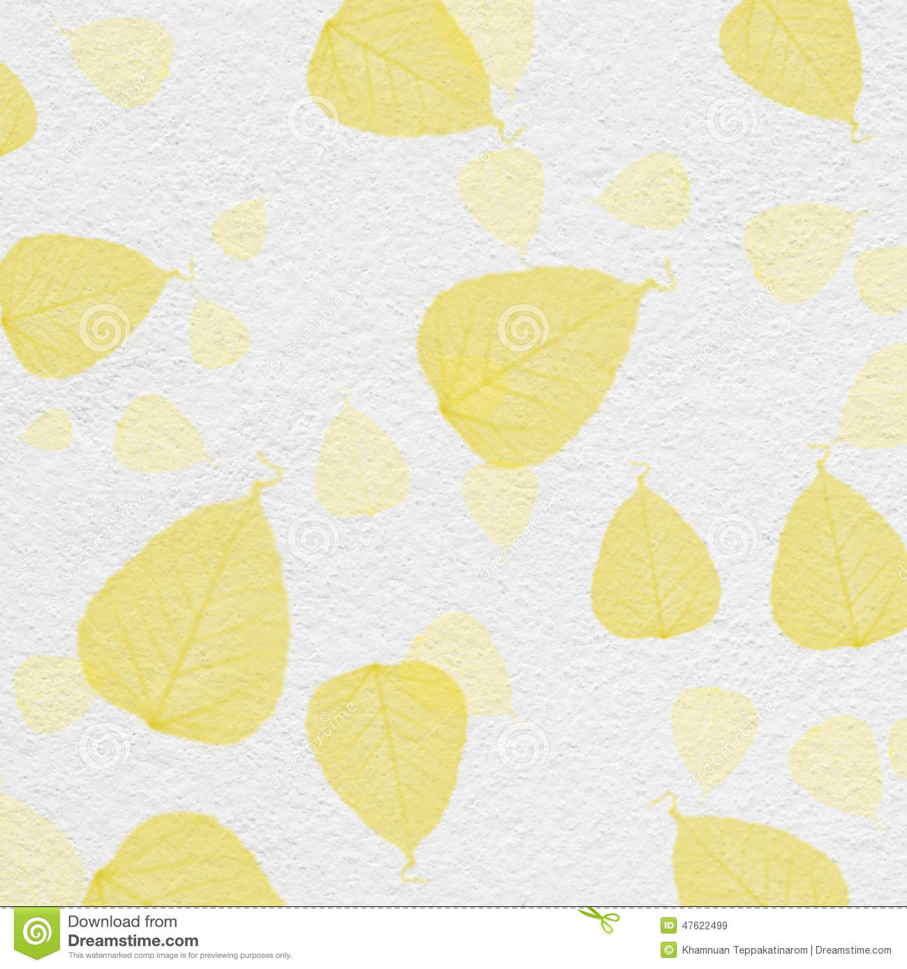 White Wall Texture With Yellow Leaf Paint Stock Illustration ...